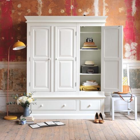 White bedroom furniture, white wardrobes, wooden floors, dream bedroom