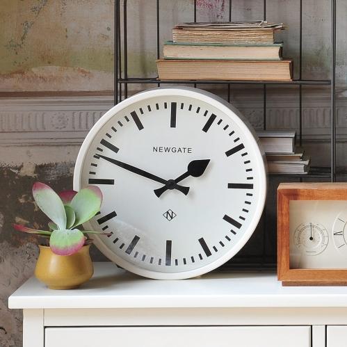 White clock, white furniture, retro clock