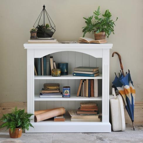 White furniture, white bookcase, nautical, blue accessories, terrarium