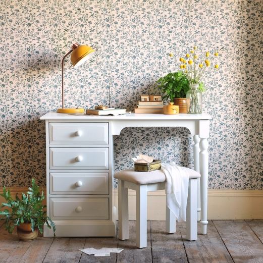 White furniture, white dressing table, craspedia, vintage wallpaper