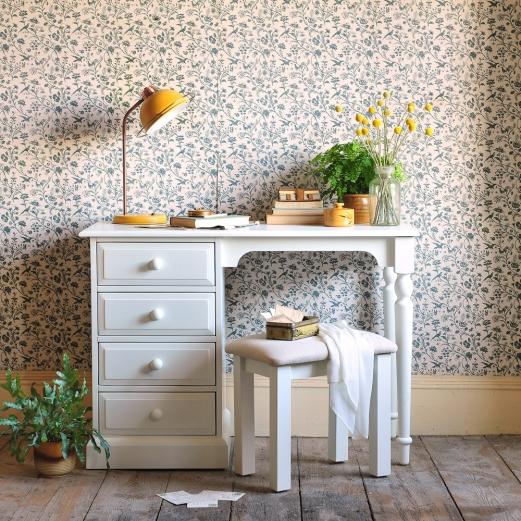 White furniture, white dressing table, craspedia, vintage wallpaper