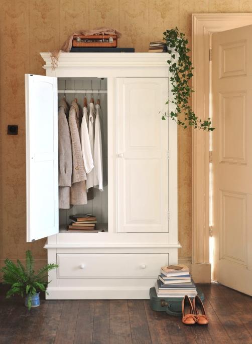 White wardrobe, white bedroom furniture, vintage wallpaper, dream bedroom