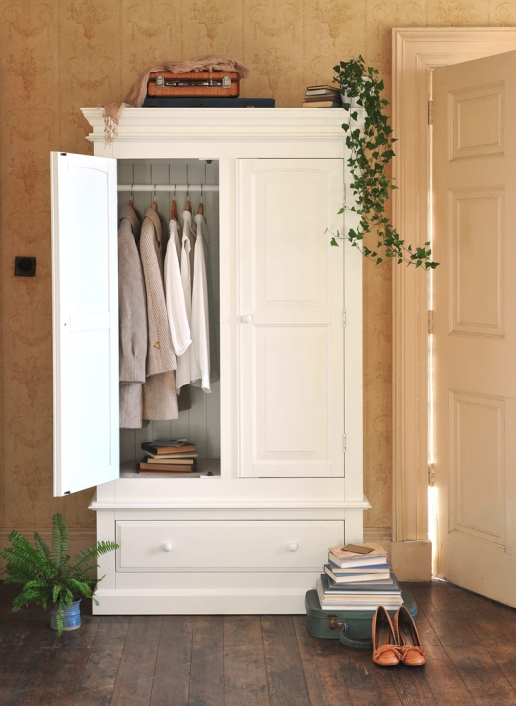 White wardrobe, white furniture, vintage wallpaper, dream bedroom