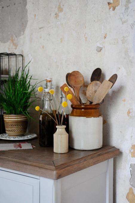 Wooden utensils, dream kitchen, kitchen storage, grey furniture, painted furniture