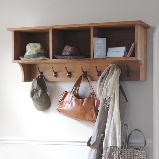 Accessories storage, hallway, porch, hooks, oak