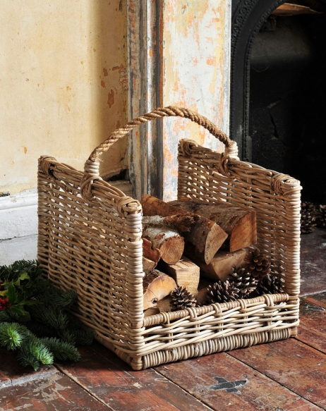 Log basket, porch, fireplace,