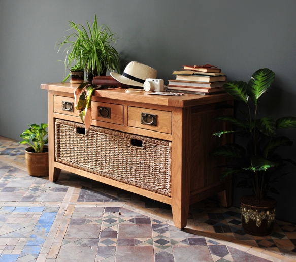 Oak hall bench, wicker drawer, tiled hallway, plants, hall storage