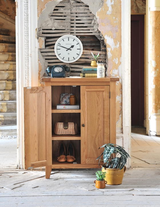 Oak Hall storage, Oak cupboard, vintage phone, shoe storage