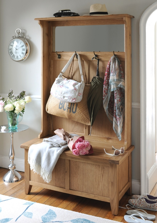 Oak Hallway furniture, Oak storage, Hallway Storage, hooks, hall bench