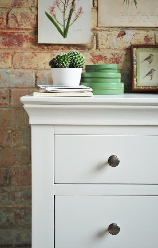 White furniture, white bedroom furniture, cactus, botanical bedroom