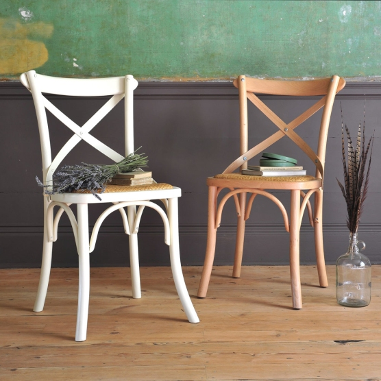 Bistro Chairs, Cream chairs, country chairs, lavender, feathers