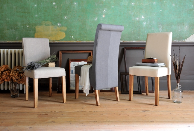 Fabric Chairs, dining chairs, wooden floor, grey walls, green walls