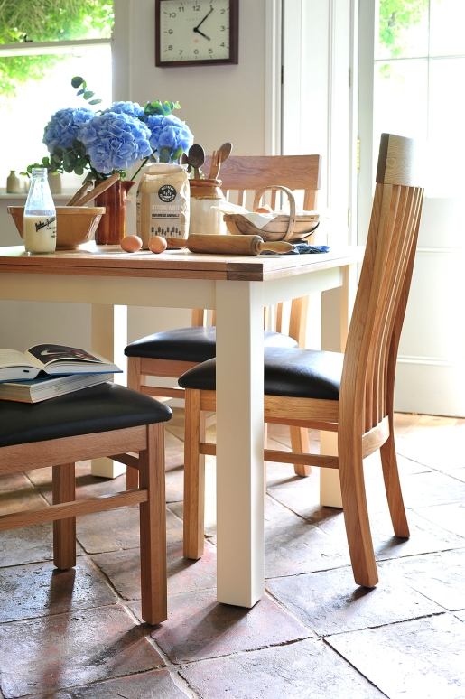 Shaker chairs, country kitchen, painted dining table, leather seats, combination