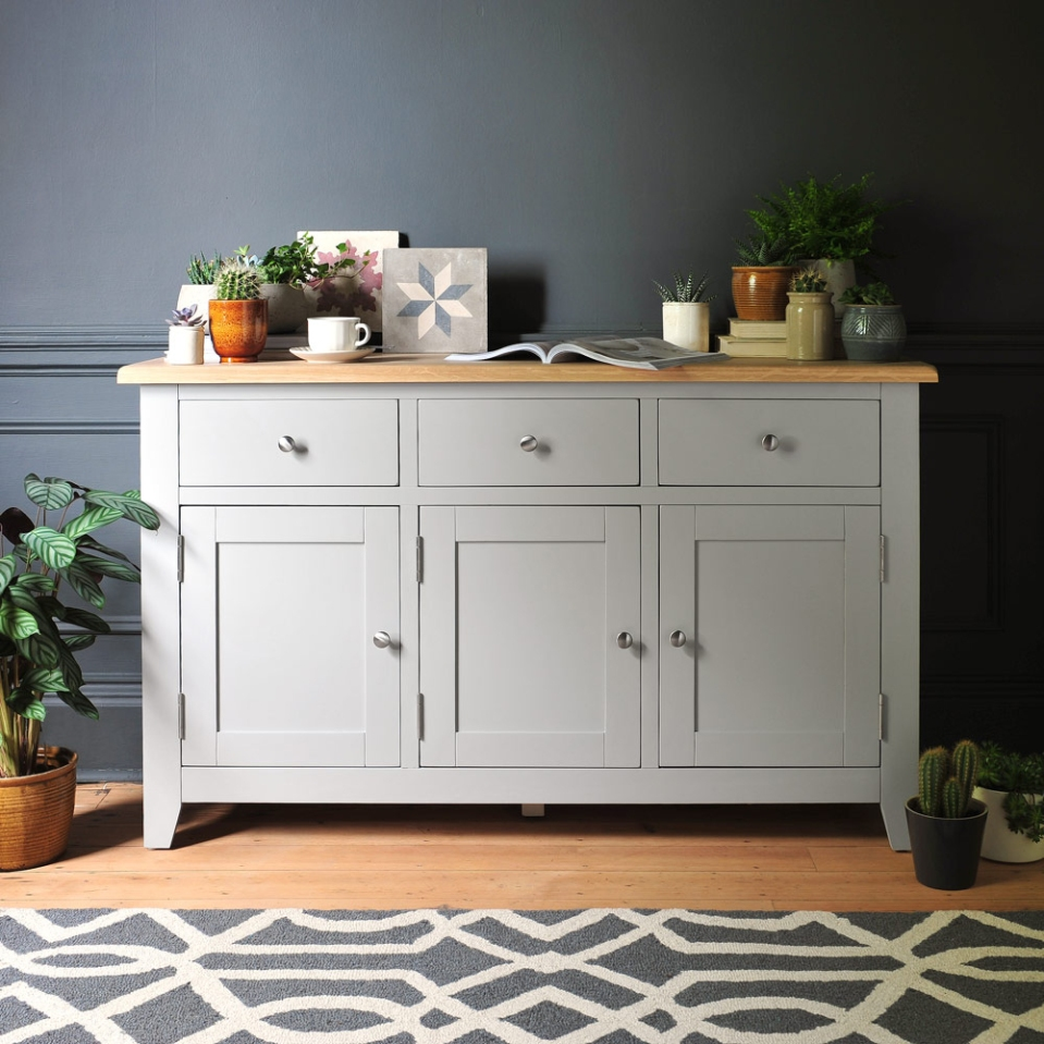 Grey furniture, sideboard, painted furniture, tiles, grey walls