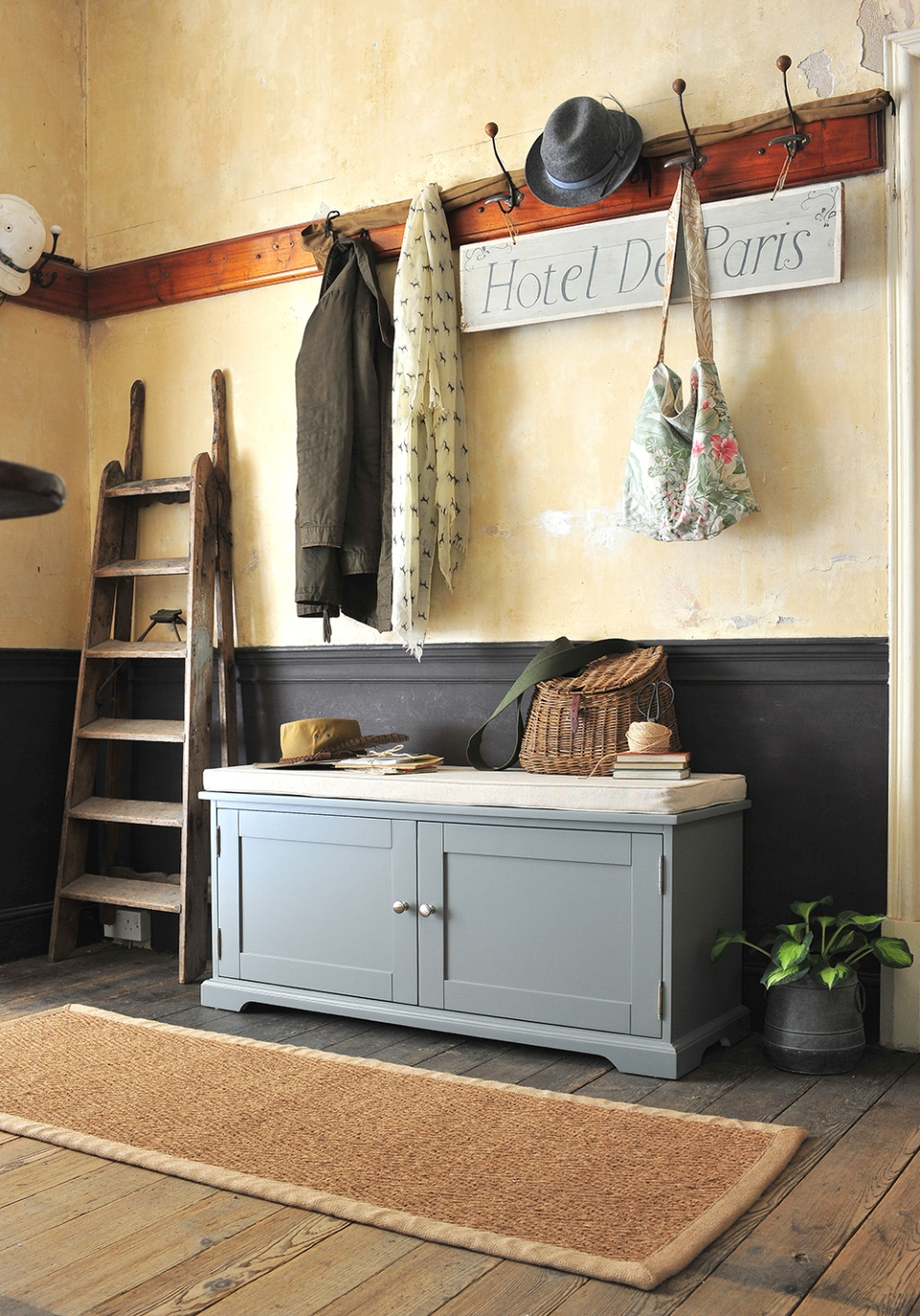 Grey hallway furniture, country house, country living, fishing basket, wooden floors