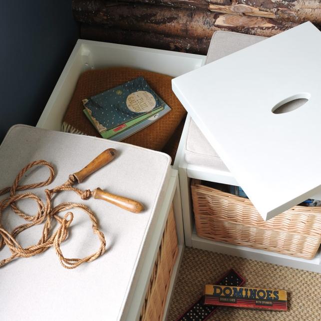 Hidden storage, clever storage, white furniture, kids room, childrens room