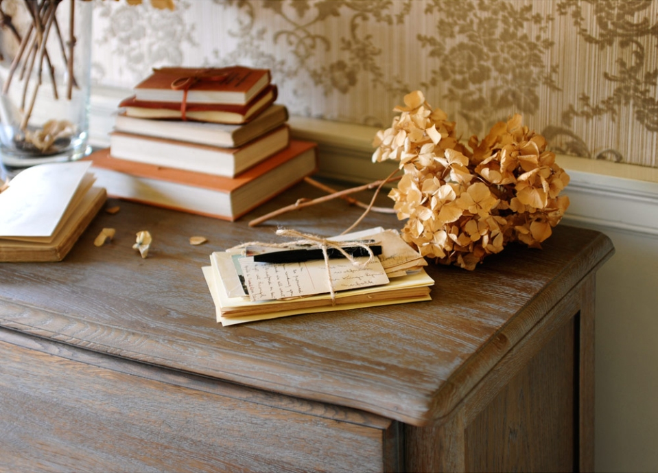 Letter writing, books, dried hydrangeas